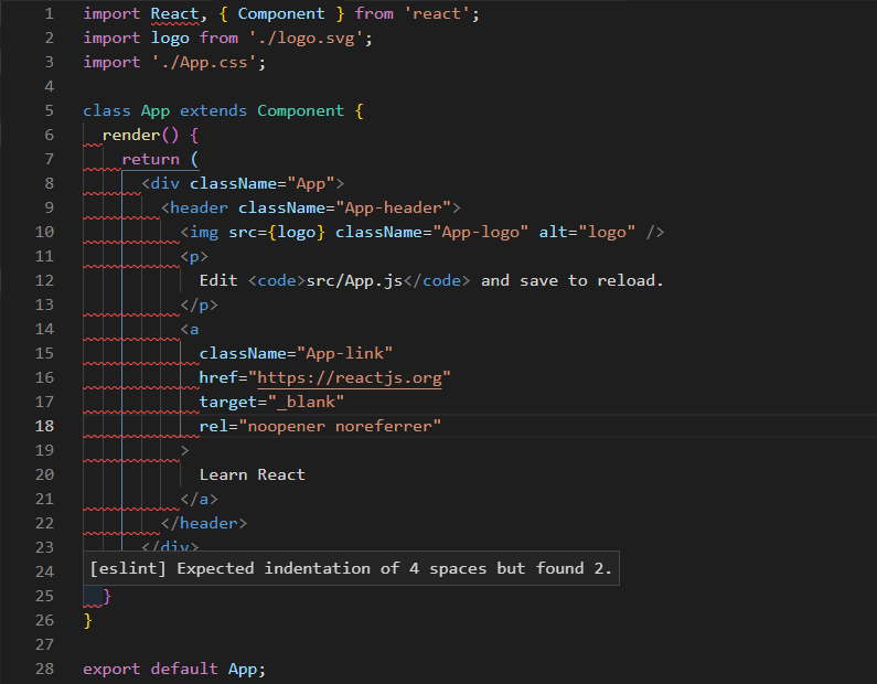Practice front end code specification by using eslint with vscode in react CRA application