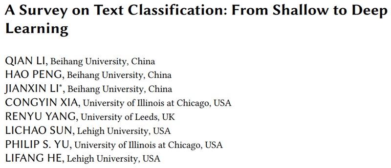 Review of the latest text classification 2020 -- from 1961 to 2020