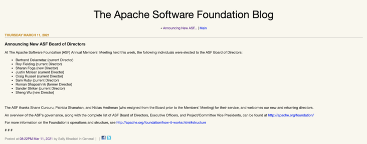 The first Chinese! Wu Sheng elected new director of Apache Software Foundation