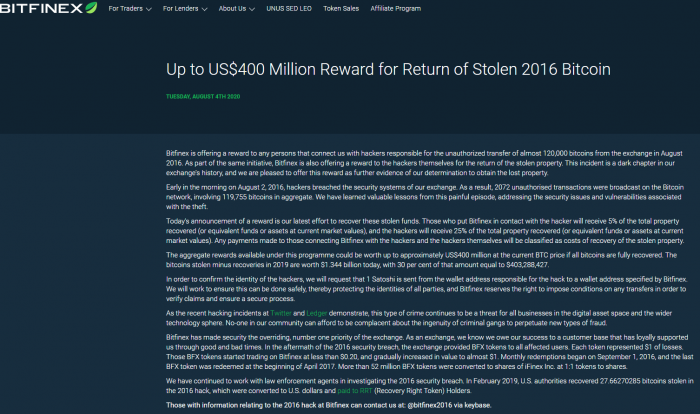 A big reward! Bitfinex will offer hackers a 25% reward to recover nearly 120000 stolen bitcoins