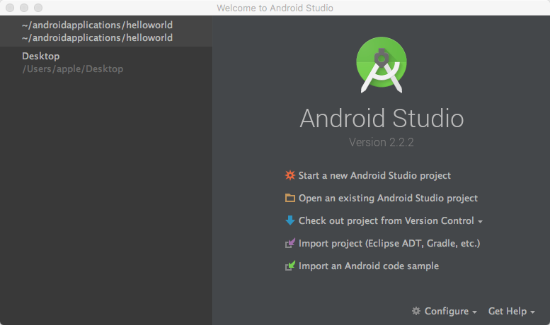MAC Android studio opens mobile hard disk project