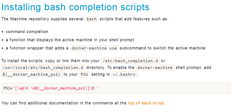 Installing bash completion scripts in the document was not