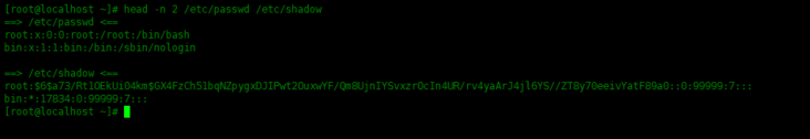 An example of head command in Linux system