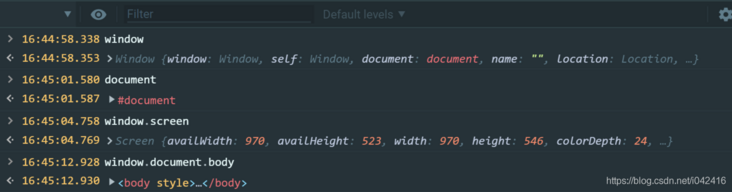The differences between the terms window, document, screen and body in JavaScript