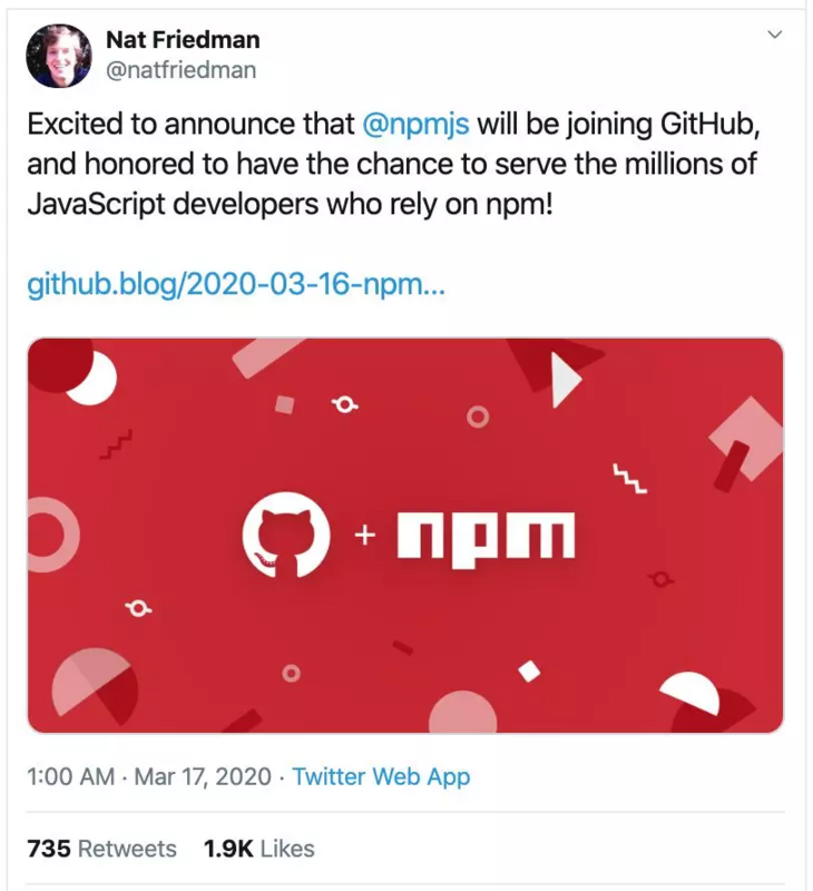 GitHub announced the formal acquisition of NPM and will take over the JavaScript ecosystem?