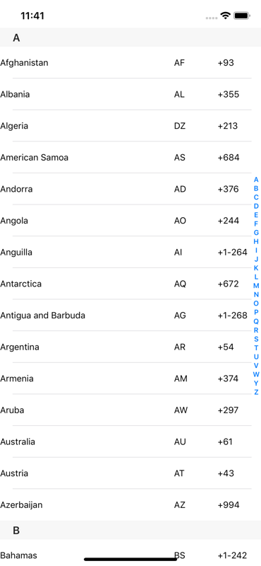 Swift5 shows a list of countries around the world