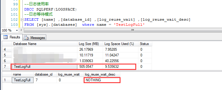 Reasons for transaction log space being occupied by opening