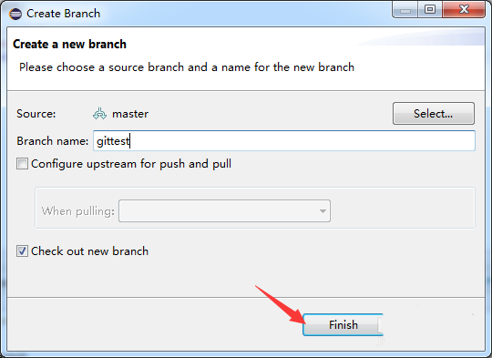 How to create a new git branch in eclipse