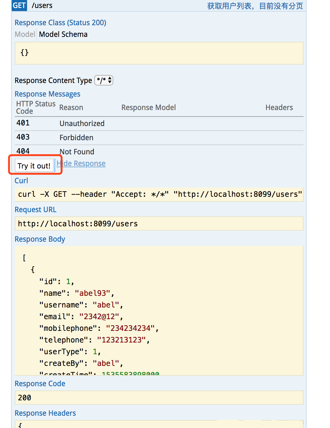 SpringBoot+Swagger-ui Automatic Generation of API Documents