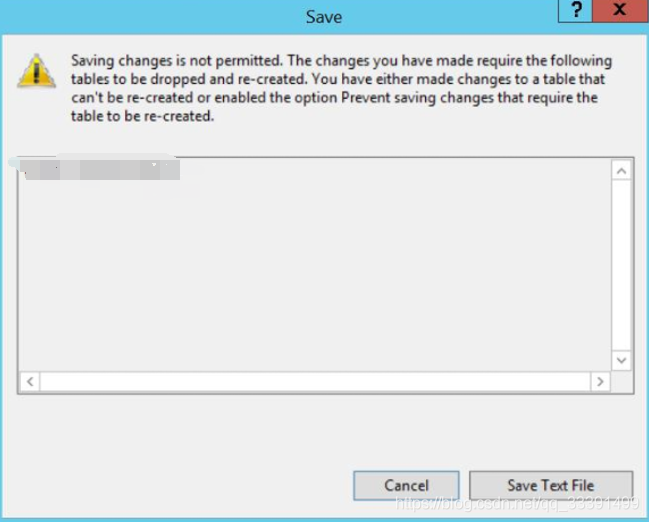 MSSQL · prevent saving configuration changes that require the table to be recreated