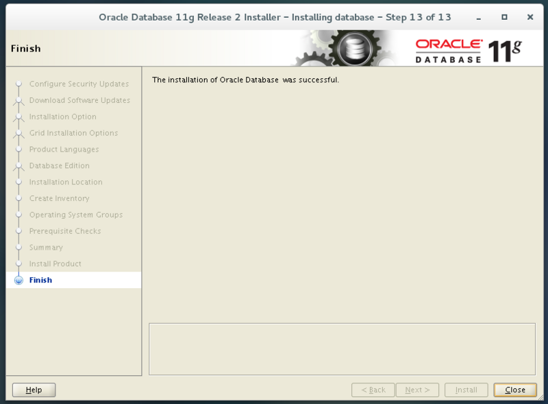 The process of installing Oracle 11gr2 server (single instance) on personal virtual machine (centos7)