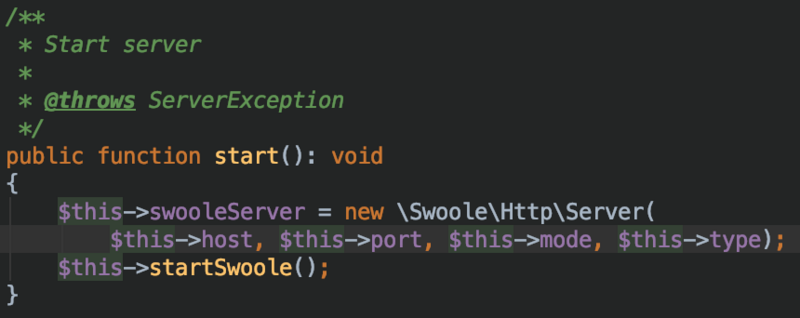 Workflow of httpserver startup and request in swoft