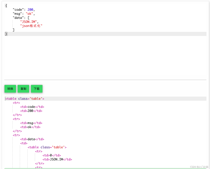 Online JSON to HTML, table tool