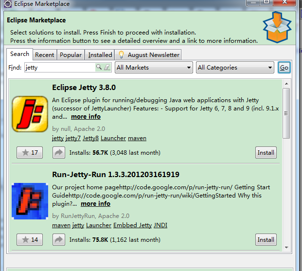 J2EE experiment – learn to install jetty in eclispe-luna to start