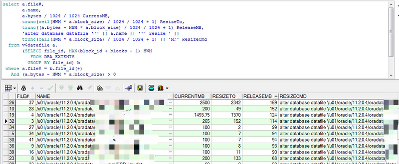 Compress table space to solve disk full problem of Oracle Database