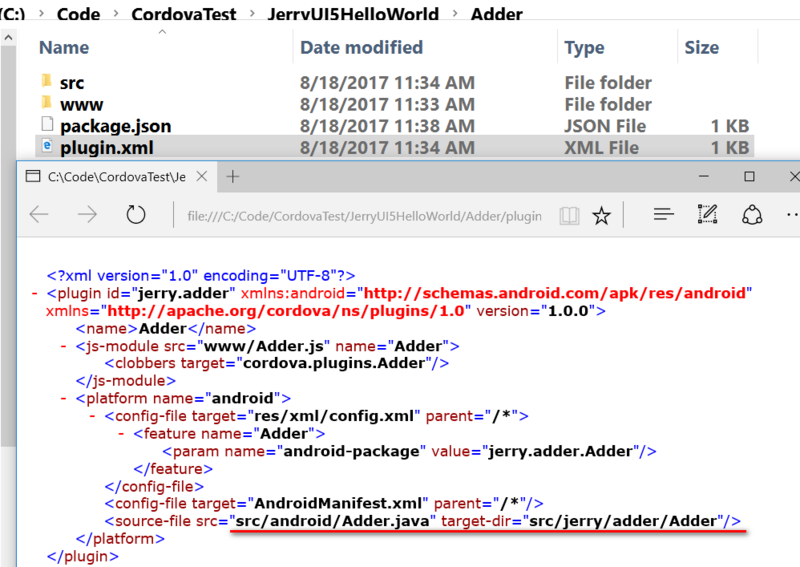 How to create a custom Cordova plug-in on Android platform and use SAP ui5 for consumption