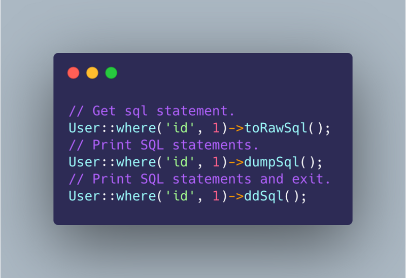 It's easy to output complete SQL statements in laravel