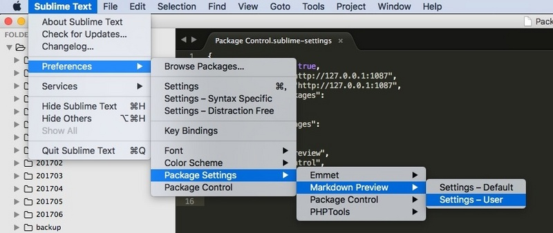 Sublimetext installs packagecontrol and HTTP proxy configuration