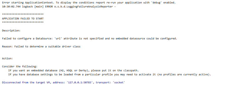 Failed to configure a datasource for springboot startup