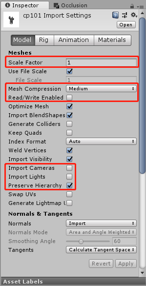 Unity Model Naming Specification and Import Settings