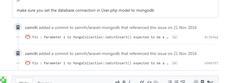 Upgrade PHP 7 jenssegers/mongodb expected to be a reference