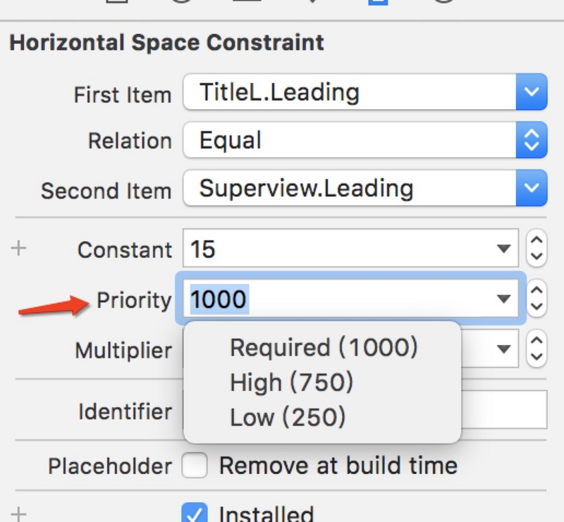Constraint Priority of AutoLayout Advanced Constraints in iOS StroyBoard