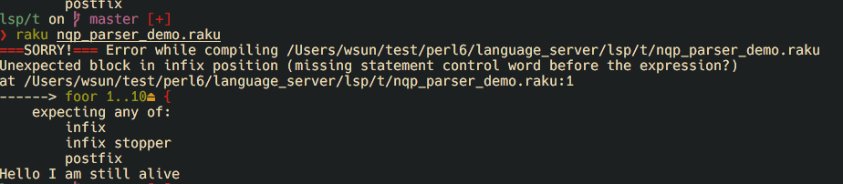 Real time syntax checking of raku (perl6) script with language server in VIM