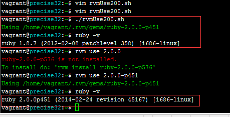 Invalid shell script execution RVM instruction switch version