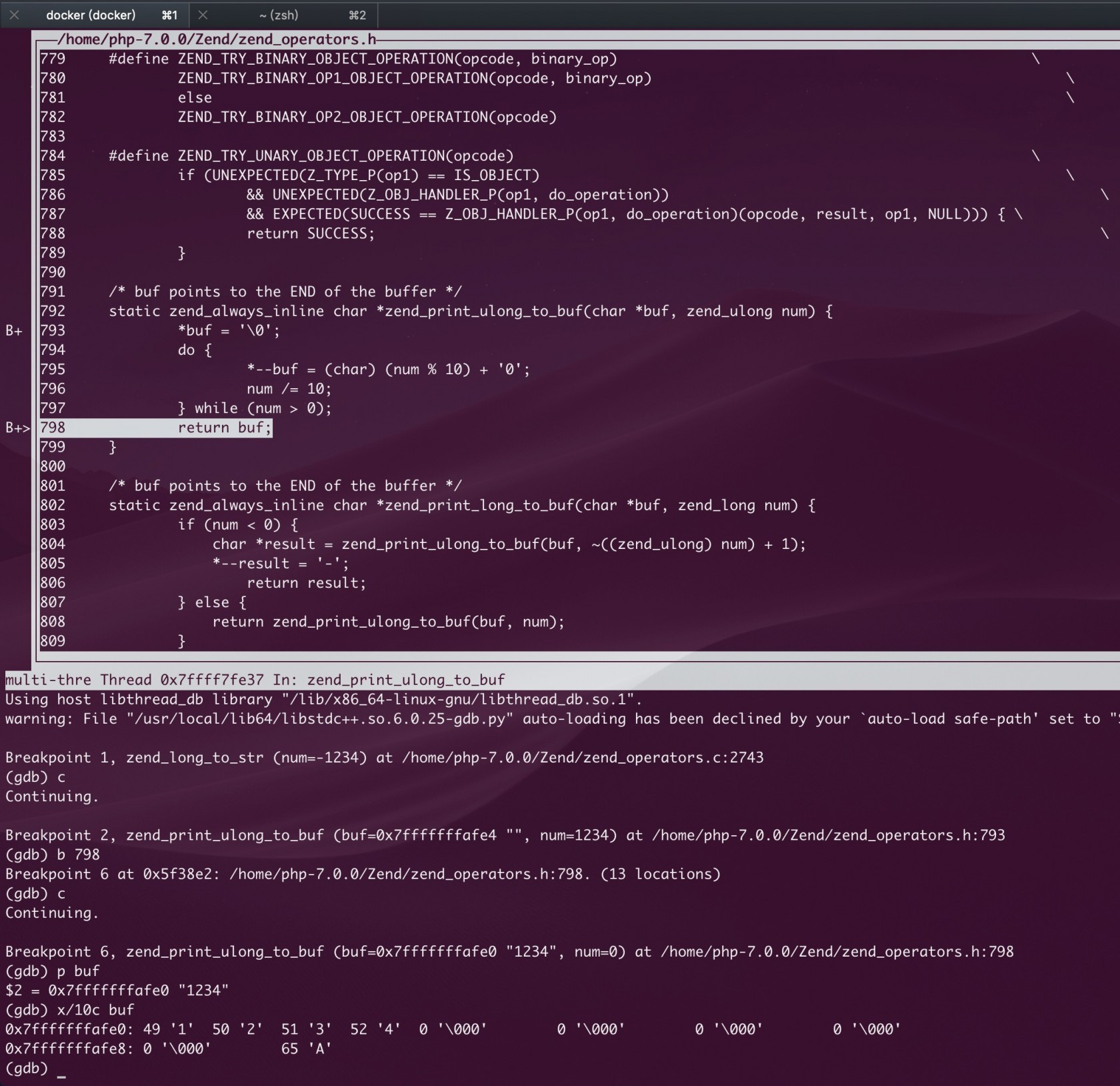 [docker + GDB] debugging PHP source code, see the C implementation of strval function