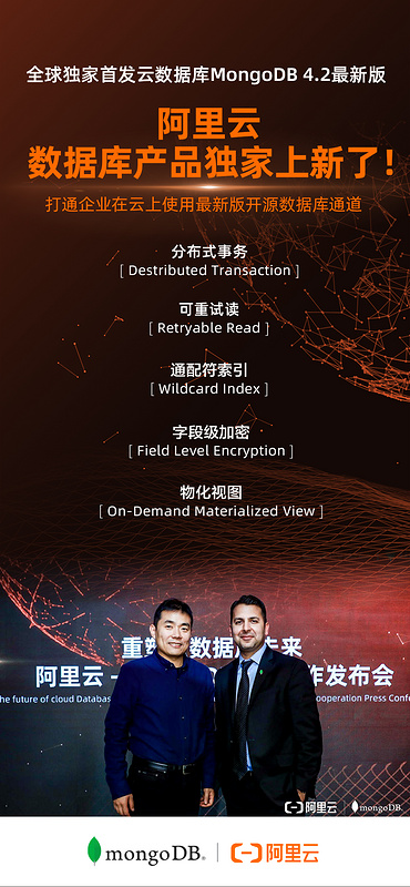 Mongodb and Alibaba cloud have reached strategic cooperation, and the latest database is launched exclusively to Alibaba cloud!