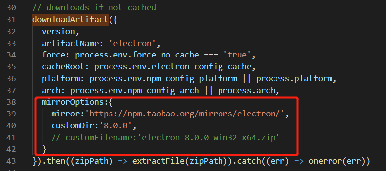 Solve the problem that electron 8.0.0 is stuck in node install.js under Windows