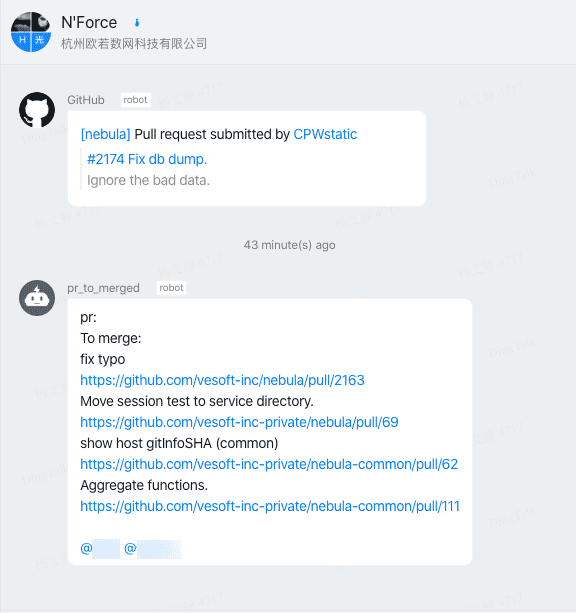 Nail robot automatically associated GitHub to send approval PRS