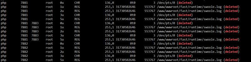 Linux takes up 100% disk space. After deleting large files, the space is still too large.