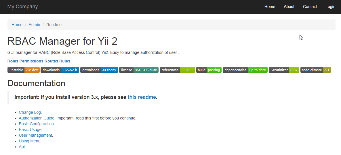 This article explains yii2 permission extension (yii2-admin) – upper