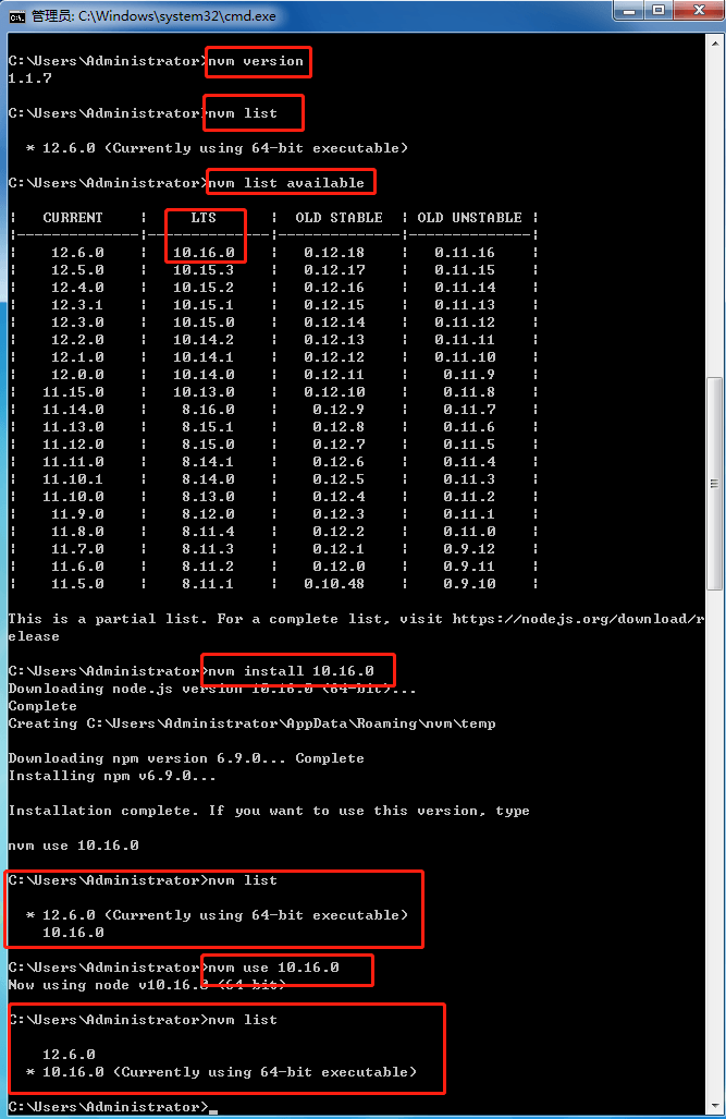 Installation and use of NVM on Windows
