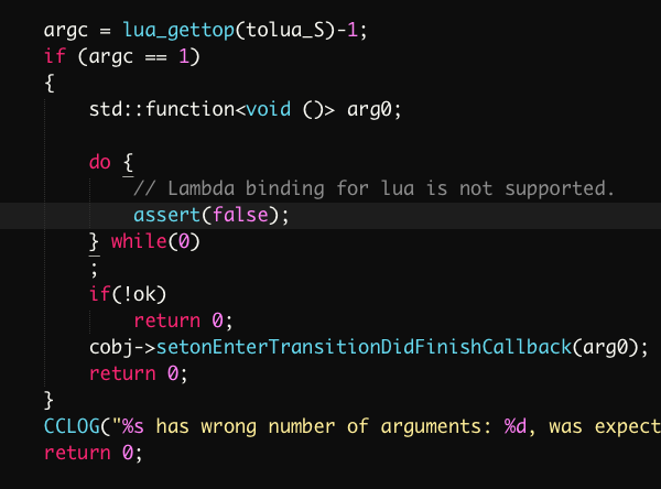 In cocos2d-x + Lua scenarios, we can't use setonentercallback (func) and other functions to set the callback solution